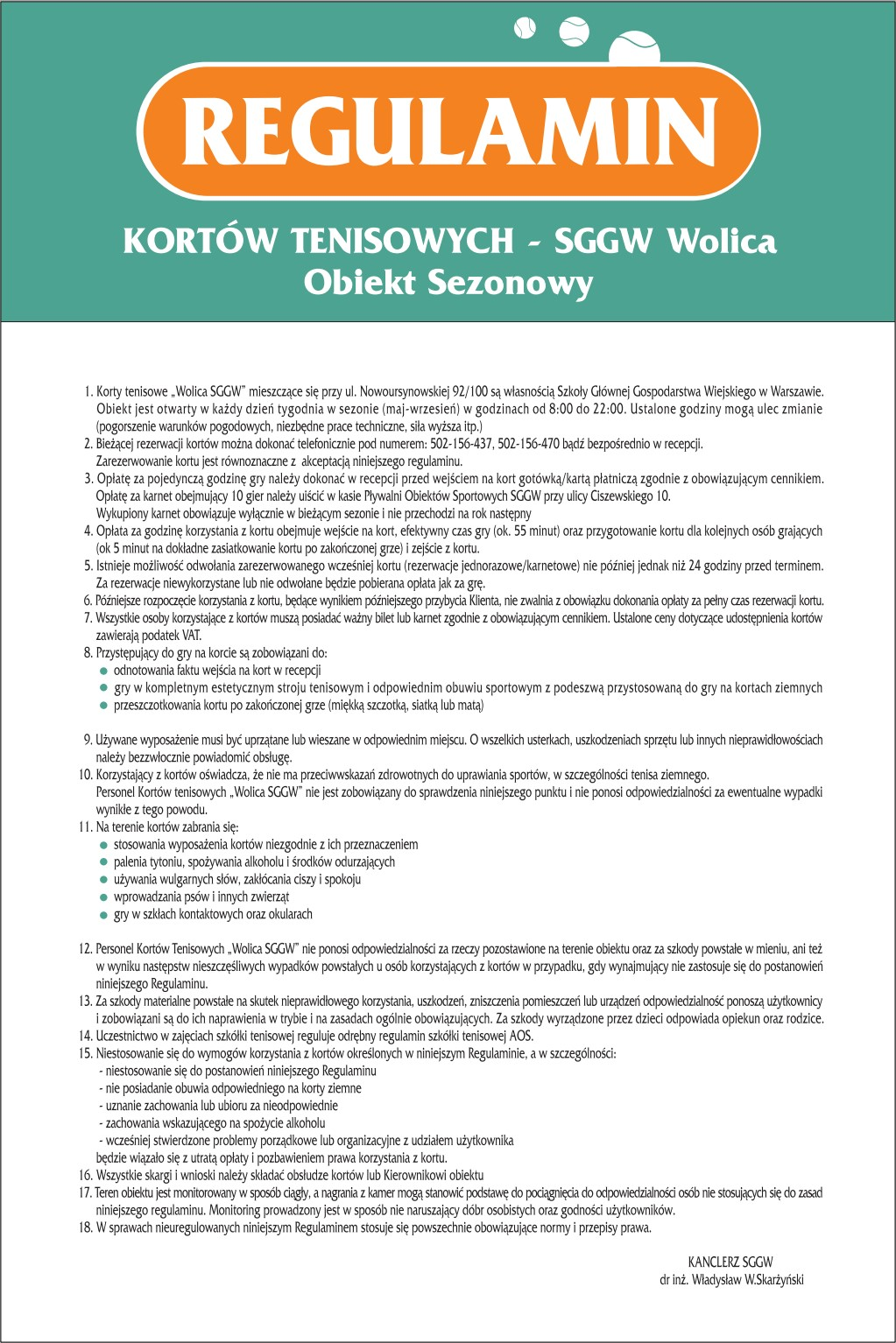 "Korty ""Wolica SGGW"" regulamin"